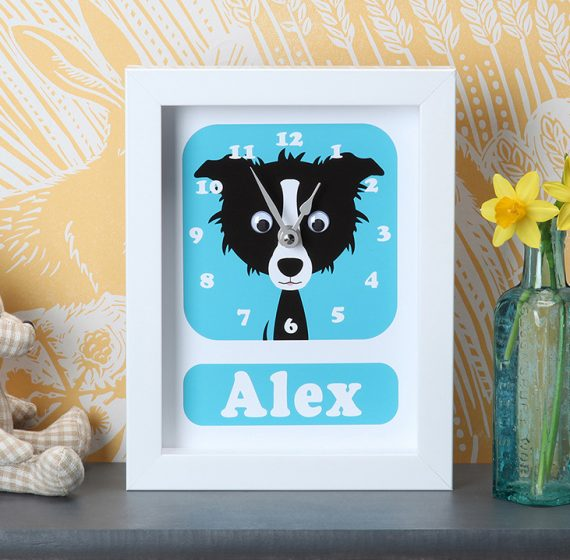 Stripey-cats-Sheepdog Clock Personalised