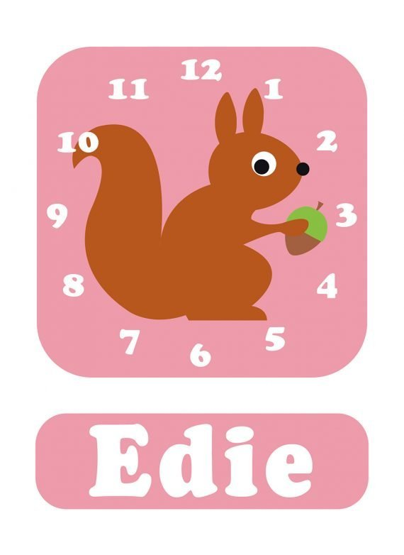 Stripey-cats-Squirrel-Clock-Pink-01