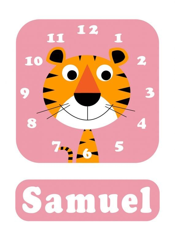 Stripey-cats-Tiger-Clock-Pink-01