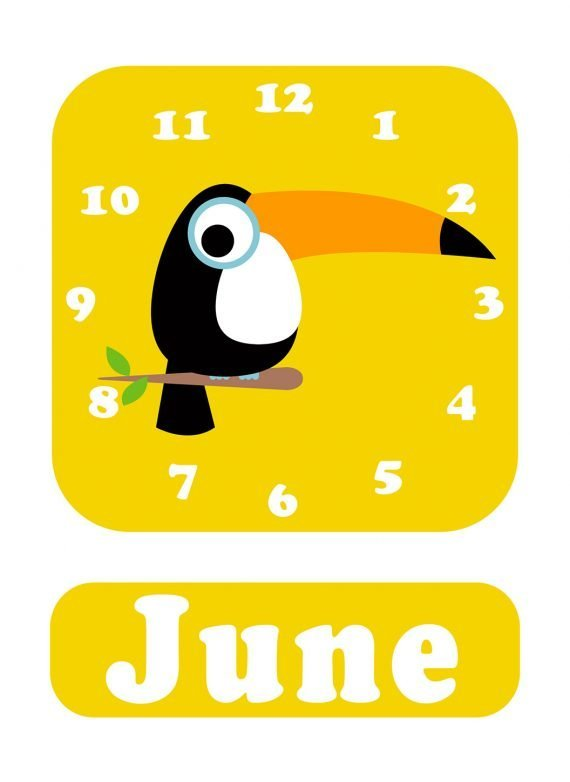 Stripey-cats-Toucan-Clock-yellow-01