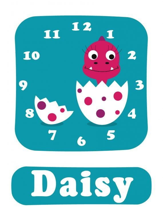 Dino Daisy Clock Blue-01