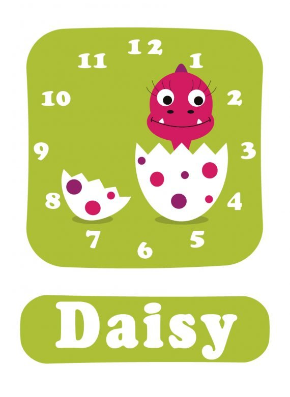 Dino Daisy Clock Green-01