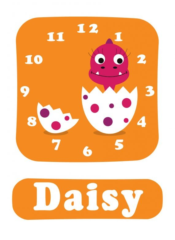 Dino Daisy Clock Orange-01
