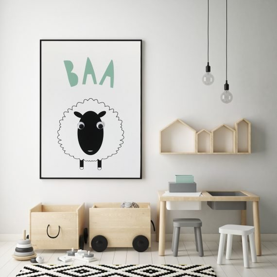 Monochrome Sheep Print with googly eyes by Stripey Cats
