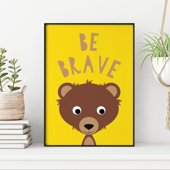 Stripey Cats Be Brave Bear Wall Art