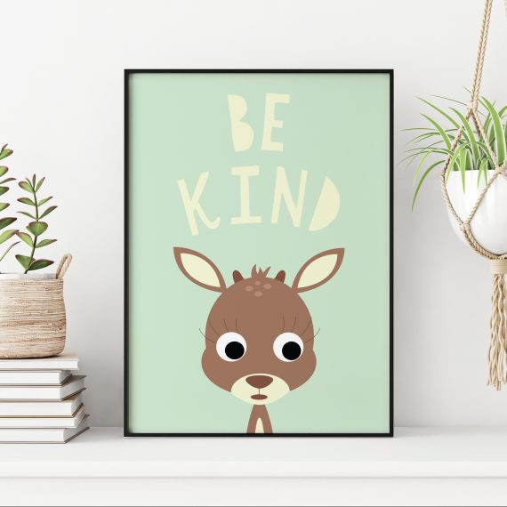 Stripey Cats Be Kind Deer Wall Art