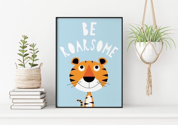 Stripey Cats Be Roarsome Tiger Wall Art