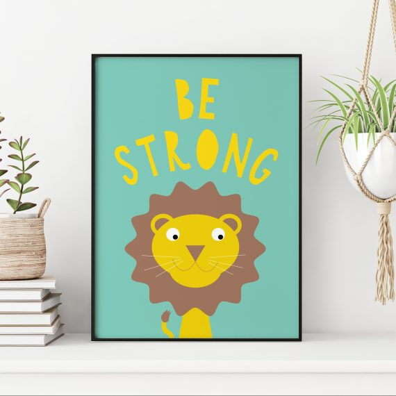 Stripey Cats Be Strong Lion Wall Art