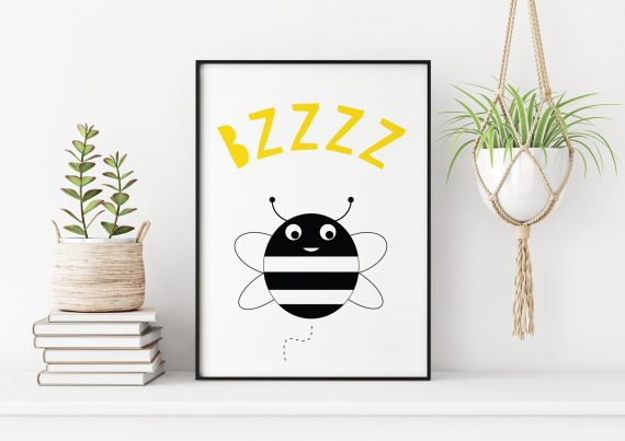 Stripey Cats Bee Wall Art