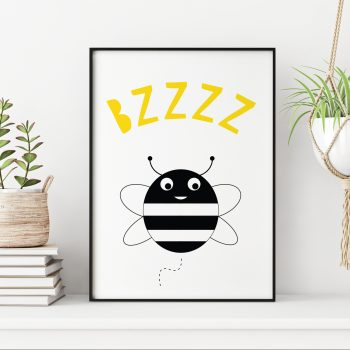 stripey-cat-bee-print