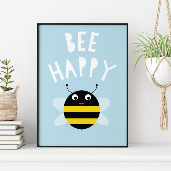 Stripey Cats Bee Happy Bee Wall Art