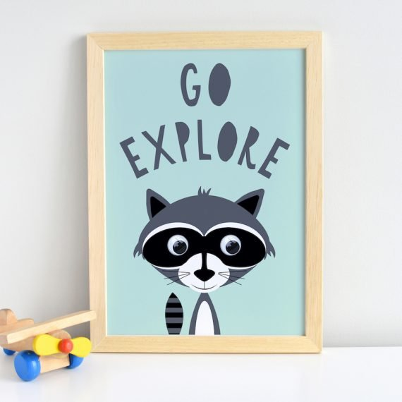 Go-explore-Ricky-racoon-print-inspirational-quote-print
