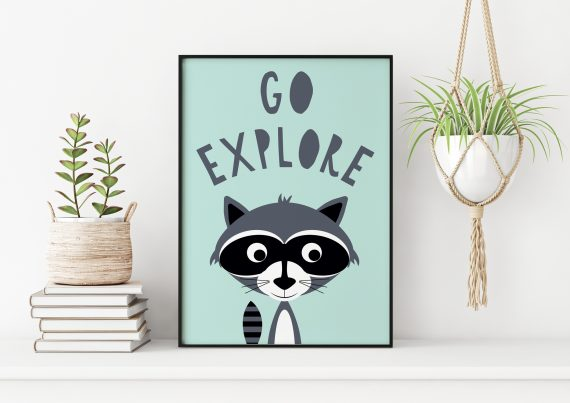 Stripey Cats Go Explore Racoon Wall Art