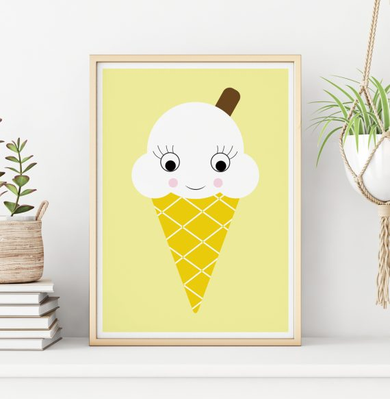 Ice Cream Yellow Bedroom Art