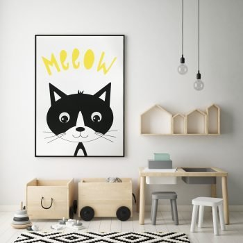 monochrome-animal-print-stripey-cats-meow-kitten-nursery-print