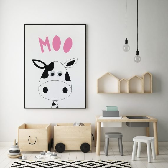 Monochrome Animal Print with Googly Eyes by Stripey Cats