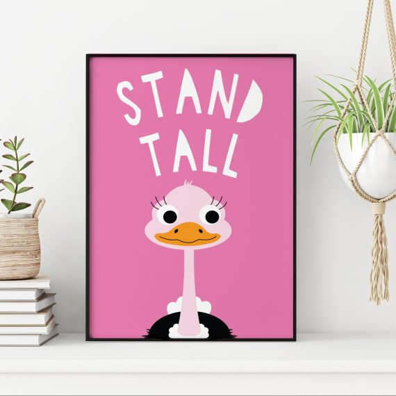 Stripey Cats Stand Tall Nursery Art