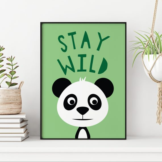 Stripey Cats Stay Wild Panda Nursery Art
