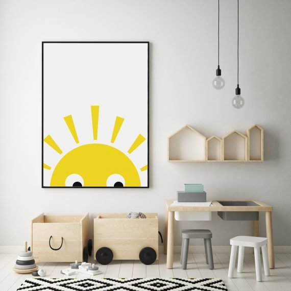 Stripey Cats Sunshine Nursery Print