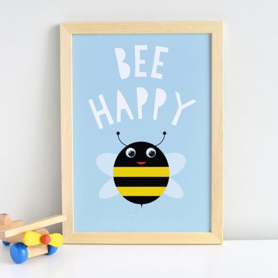 Be Happy Bee Print by Stripey Cats