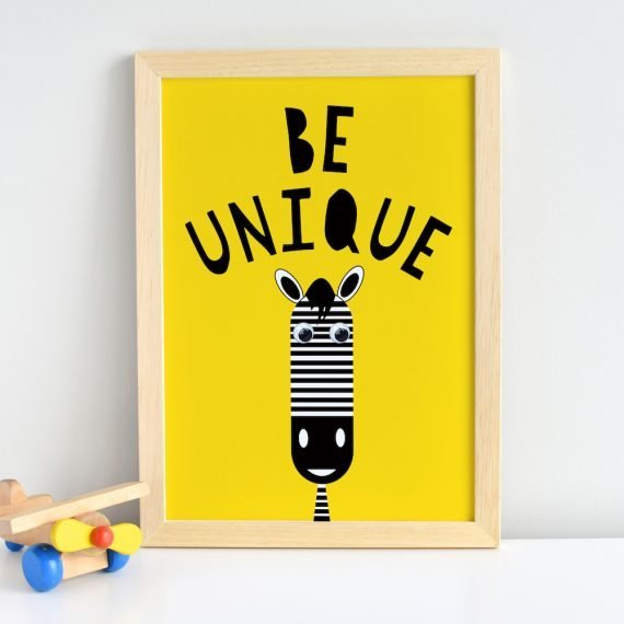 Be Unique Zebra Inspirational Quote Print by Stripey Cats