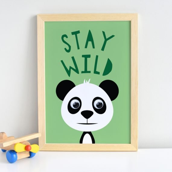 Stay Wild Inspirational Quote Panda Print by Stripey Cats