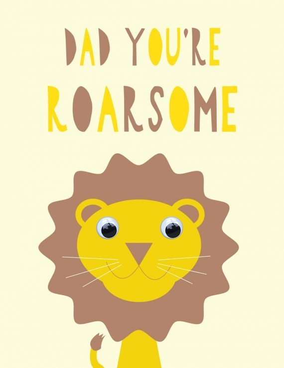 Stripey Cats Roarsome Dad Fathers Day card