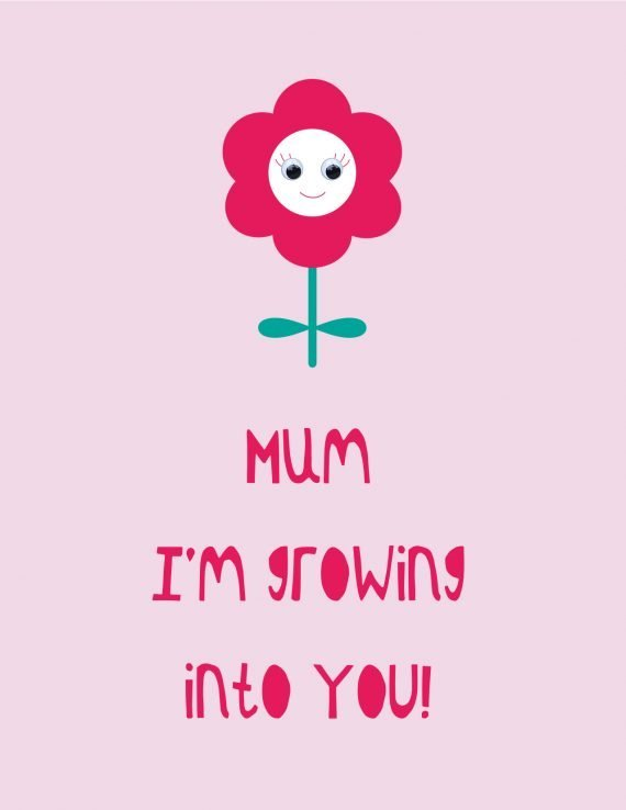 Mum I'm growing into you greetings card by Stripey Cats