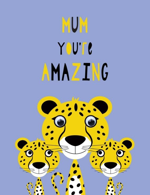 Amazing Mum greetings card with googly eyes by Stripey Cats