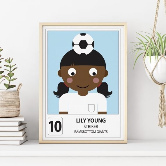 Personalised football player print by Stripey Cats