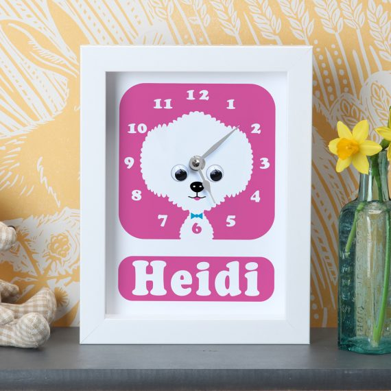 Stripey-Cats-Personalised-Bichon-Frise-Clock