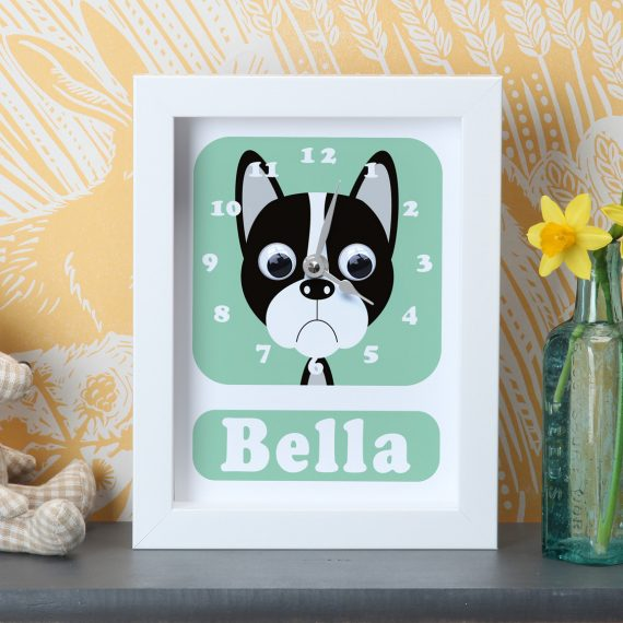 Stripey-Cats-Personalised-Boston-Terrier-Dog-Clock-