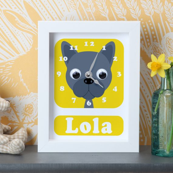 Stripey-Cats-Personalised-French-Bulldog-Clock