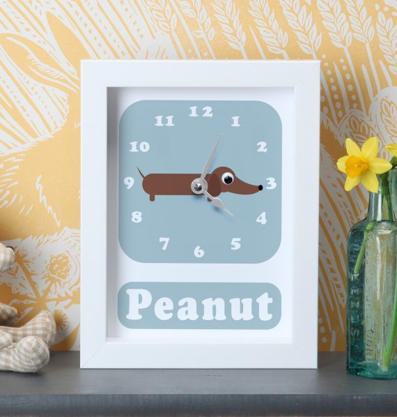 Stripey-Cats-Personalised-Sausage-Dog-Clock