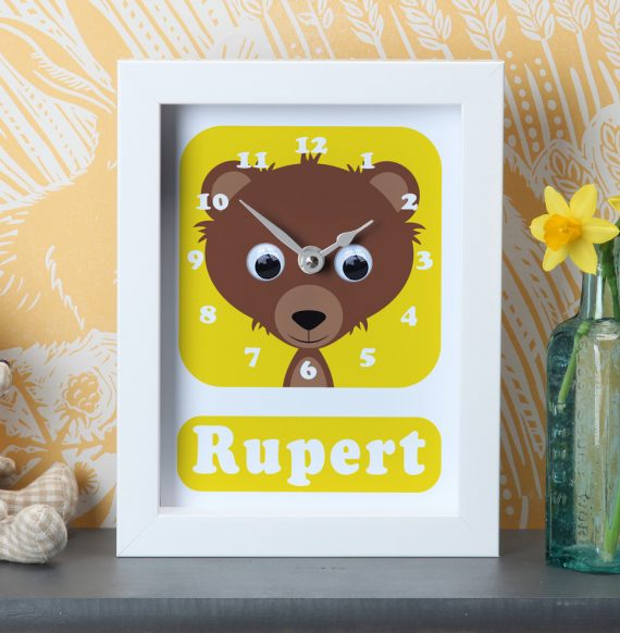 Stripey-Cats-Personalised-Teddy-Bear-Clock