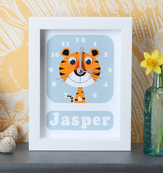 Stripey Cats Personalised animal Clock Tiger