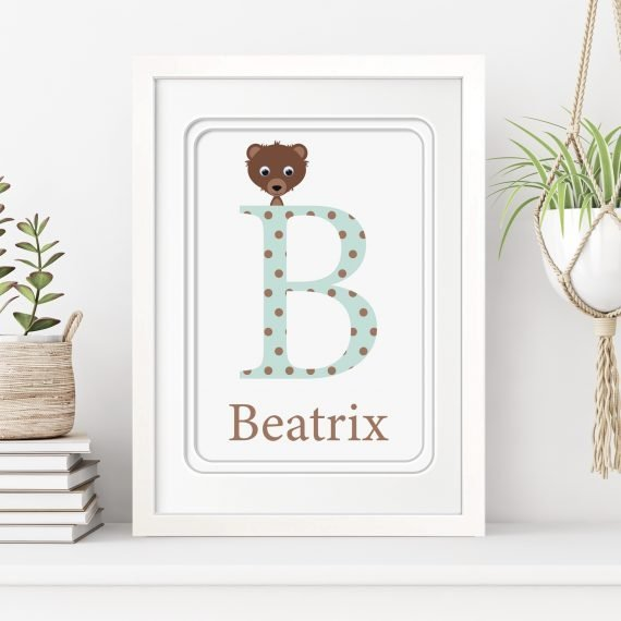 stripey cats personalised alphabet letter  framed print