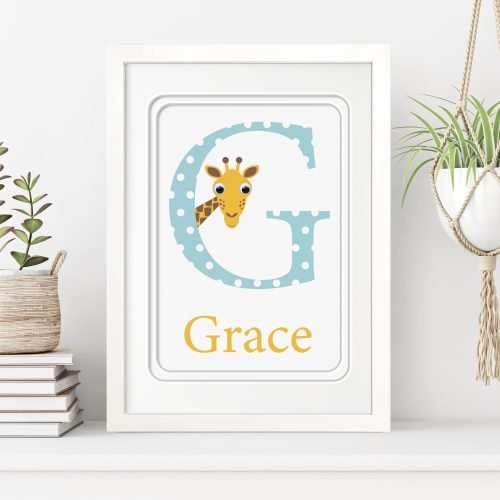 stripey-cats-personalised-framed-initial-name-print-g-is-for-giraffe