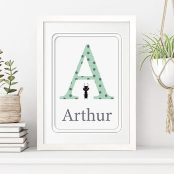 stripey-cats-personalised-framed-initial-name-personalised-alphabet-letter-framed-print