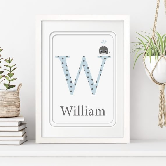 stripey cats personalised alphabet letter framed print with wobbly eyes