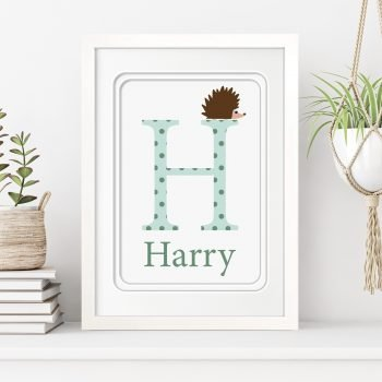 stripey-cats-personalised-framed-initial-name-print-h-is-for-hedgehog