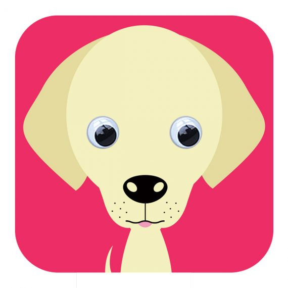 Larry Labrador Dog Greetings Card  with wobbly eyes