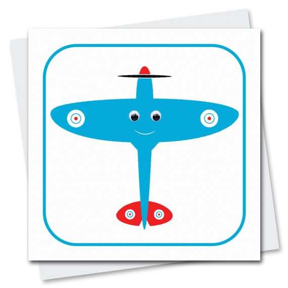 407-Spike-Spitfire-Plane-Childrens-Birthday-Card-by-Stripey-Cats