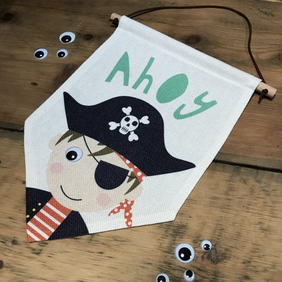 Pirate Pennant Flag with wobbly eye by Stripey Cats