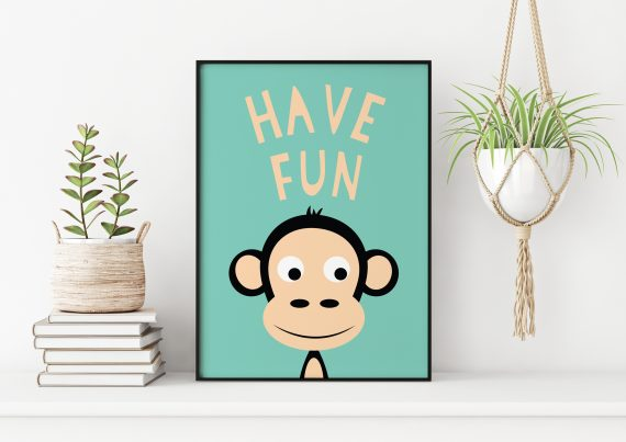 Stripey Cats Have Fun Monkey Wall Art