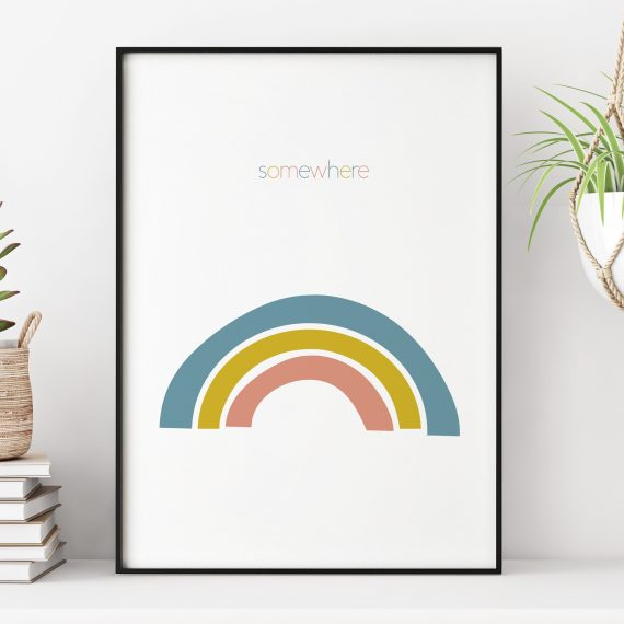Stripey Cats Scandi Somewhere Over the Rainbow Print