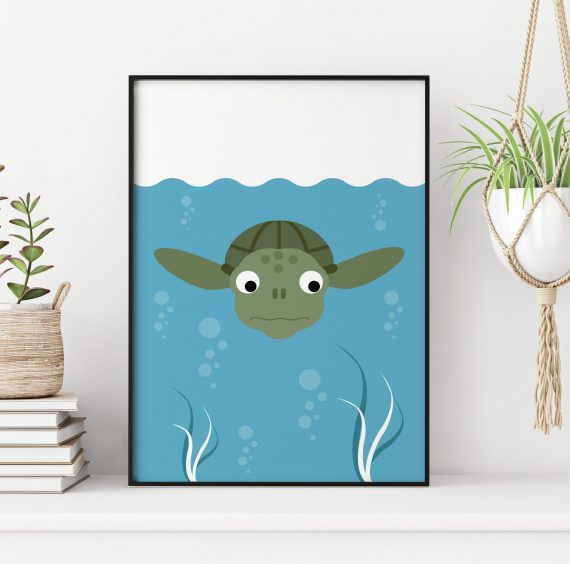 Stripey Cats under the water theme sea turtle nursery print