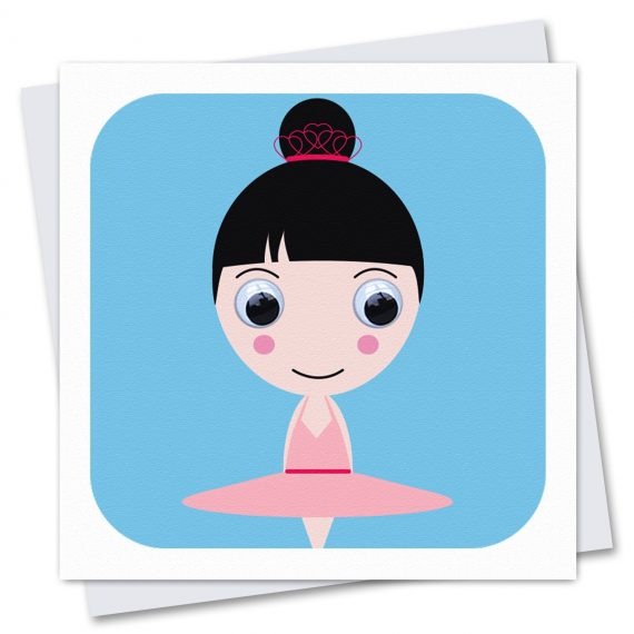 700-Ballerina-Betsy Childrens birthday card by Stripey Cats