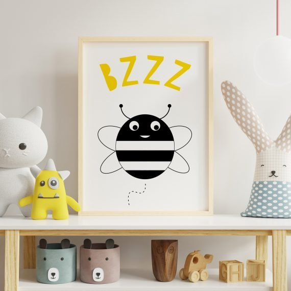 Children's-Bee-Print-Artwork-for-nursery