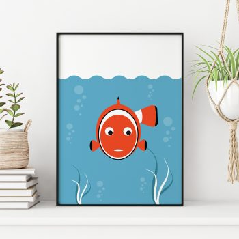 stripey-cats-clownfish-nursery-print
